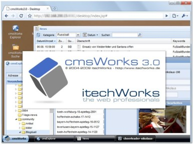 Windows-feeling in a web-browser: The unique cmsWorks 3.0 web-desktop now with built in image too and personalization.